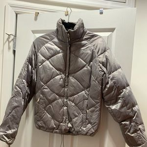 Silver Quilted North Face Puffer
